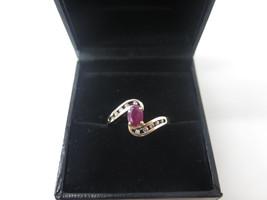 10k Yellow Gold Diamond And Ruby Women's Ring July Birthstone - $110.00