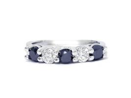 14k White Gold Diamond and Sapphire Band 0.50 ct - $1,090.00