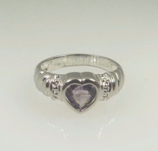 Sterling Silver 925 Vintage Heart Shape Amethyst February Birthstone Ring  - $38.00