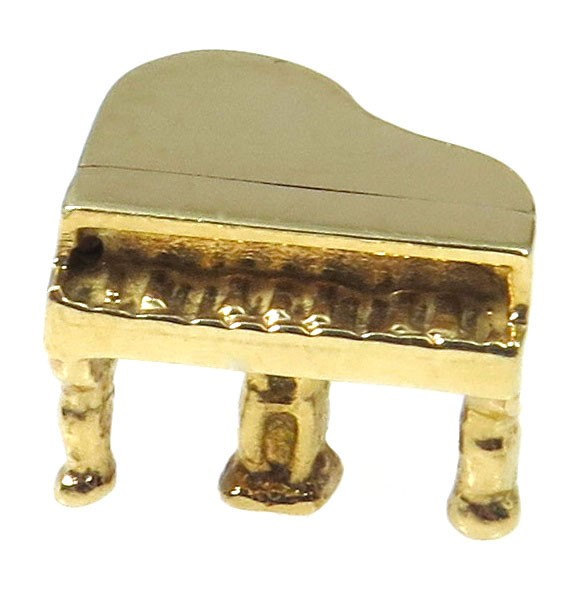 14k Yellow Gold Vintage Grand 3D Piano Charm