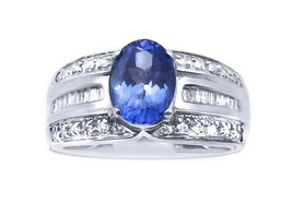 14k White Gold Oval TanZanite And Diamond Ring For Her 0.65 ct - $950.00