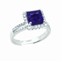 18kWhite Gold Princess Cut Halo With Genuine Sapphire Ring 0.50 ct - $1,650.00