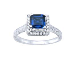 14k Diamond and Sapphire Halo Ring - $575.00