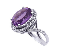 14K White Gold Oval Amethyst With Twist Ring - $680.00