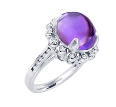 14K Cabochon Amethyst And Diamond Ring - $680.00
