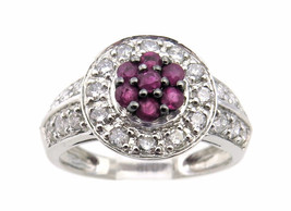 14K White Gold Women's Diamond And Ruby Cocktail Ring - $730.00