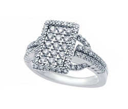 14k White Gold And Diamond Rectangle Cluster Ring 1.00 ct - $988.00
