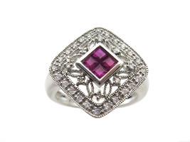 18k White Gold Diamond And Ruby Women's Ring - $598.00