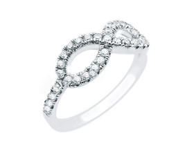 14k White Gold And Diamond Infinity Ring - $575.00