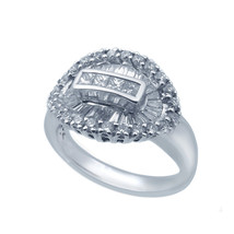 18k White Gold And Diamond Oval Shape Women's Cocktail Ring 1.19 ct - $1,355.00