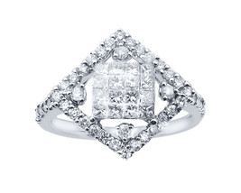 14k White Gold Diamond-Shape With Invisible Cluster Center Ring - $910.00