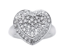 14k White Gold And Diamond Concaved Heart Ring - $688.00