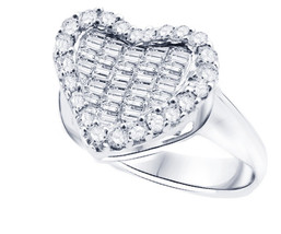 14k White Gold Baguette And Round Diamond Heart Rring - $810.00