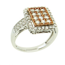 14k Two Tone Gold Sqaure Cluster Diamond Ring For Her 1.00 ct - $1,098.00