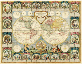 """1776 Mappe Monde 16""""x20.5"""" Historic Engraved Double Hemisphere Map of th... - $18.81"""