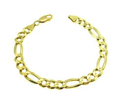14k Yellow Gold Men's Figaro Bracelet - $865.00