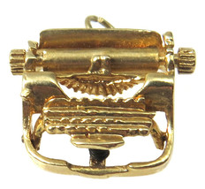 14k Yellow Gold 3D Vintage Typewriter Charm - $169.00