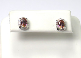 14k White Gold And Diamond Stud Earrings With  Color Stone - $90.00