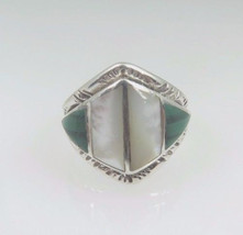 Sterling Silver 925 Vintage Women's Ring With Jade And Opal Stones - £56.82 GBP