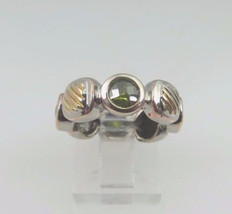 Sterling Silver 925 Tri- Color Women's Ring With Round Cut Birthstones - €44,76 EUR