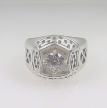 Sterling Silver 925 Men's Ring With Round Cut CZ Stone - $125.00