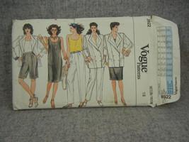 Jacket Dress Top Pants & Shorts Misses 18 Petite Vogue 8922  UC FF 1980s - $12.00