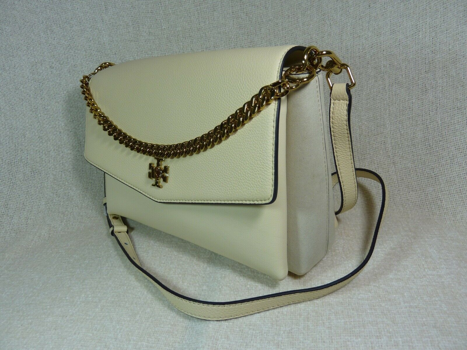 NWT Tory Burch New Cream KIRA Mixed-material Double-strap Shoulder Bag $528 image 2