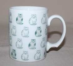 Rows of Sitting Cats Mug Black White Striped Spotted Porcelain Coffee Cup - $21.73