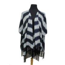 Navy Blue Striped Design Chiffon Tassel Kimono ... - $19.54