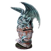 Rustic Medieval Knight Armor Helmet Perched Dragon Statue - €56,61 EUR