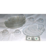Vintage 12 PC Etched Fern Clear Glass Serving Set 6 Trays 6 Cups Elegant... - $69.17