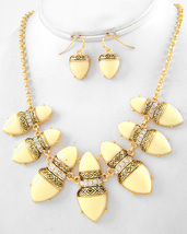 Fashion Necklace Earring Set Gold Tone With Clear Stone Cream Plastic EP... - $22.50