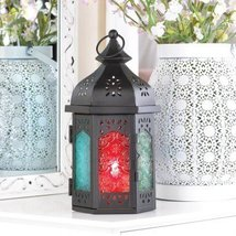 Lanterns Pair Of Red Blue Green Glass Moroccan ... - $32.13