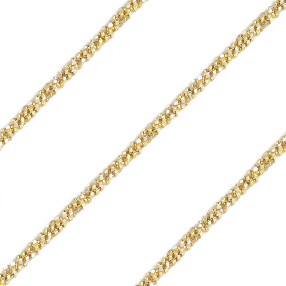 1.7mm Men/Womens Stylish 14K YG Covered 925 Silver Twist Rope Link Italian Chain