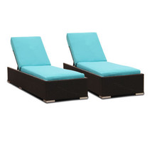 Pack of 2 Luxury Beach Wicker Outdoor Sun Lounge Couch Bed Patio Rattan - $898.99