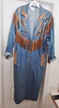 CACHE Western Jean Long Coat Denim Suede Leather Fringe Embellished Blue... - $119.95