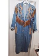 CACHE Western Jean Long Coat Denim Suede Leather Fringe Embellished Blue... - $119.95