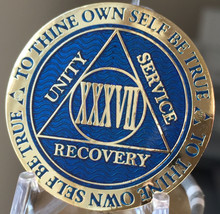 37 Year AA Medallion Blue Gold Plated Alcoholics Anonymous Sobriety Chip... - $17.98