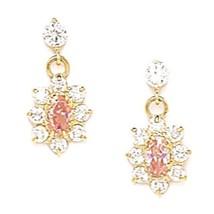 Women/Children Elegant 14K YG Pink Tourmaline Birthstone Flower Dangle Earrings - £50.73 GBP