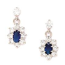 Women/Children Stylish 14K WG Aquamarine March Birthstone Flower Dangle Earrings - $65.23