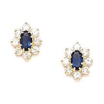 Women/Children Unique 14K YG Sapphire September Birthstone Flower Dangle Earring - $65.23