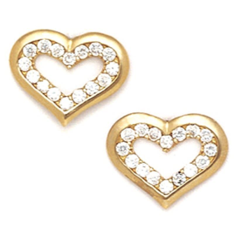Women/Children's Elegant 14K YG 10MM Cubic Zircon Heart Shape Studs PushBack