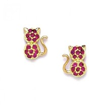 Women/Children's Unique 14K YG Genuine Ruby July Birthstone Cat Stud Ear... - $61.40