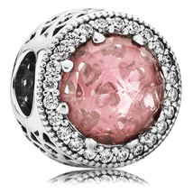 925 Sterling Silver Radiant Hearts with Blush Pink Crystal Charm Bead QJ... - $23.88