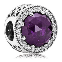 925 Sterling Silver Radiant Hearts with Royal Purple Crystal Charm Bead ... - €19,43 EUR