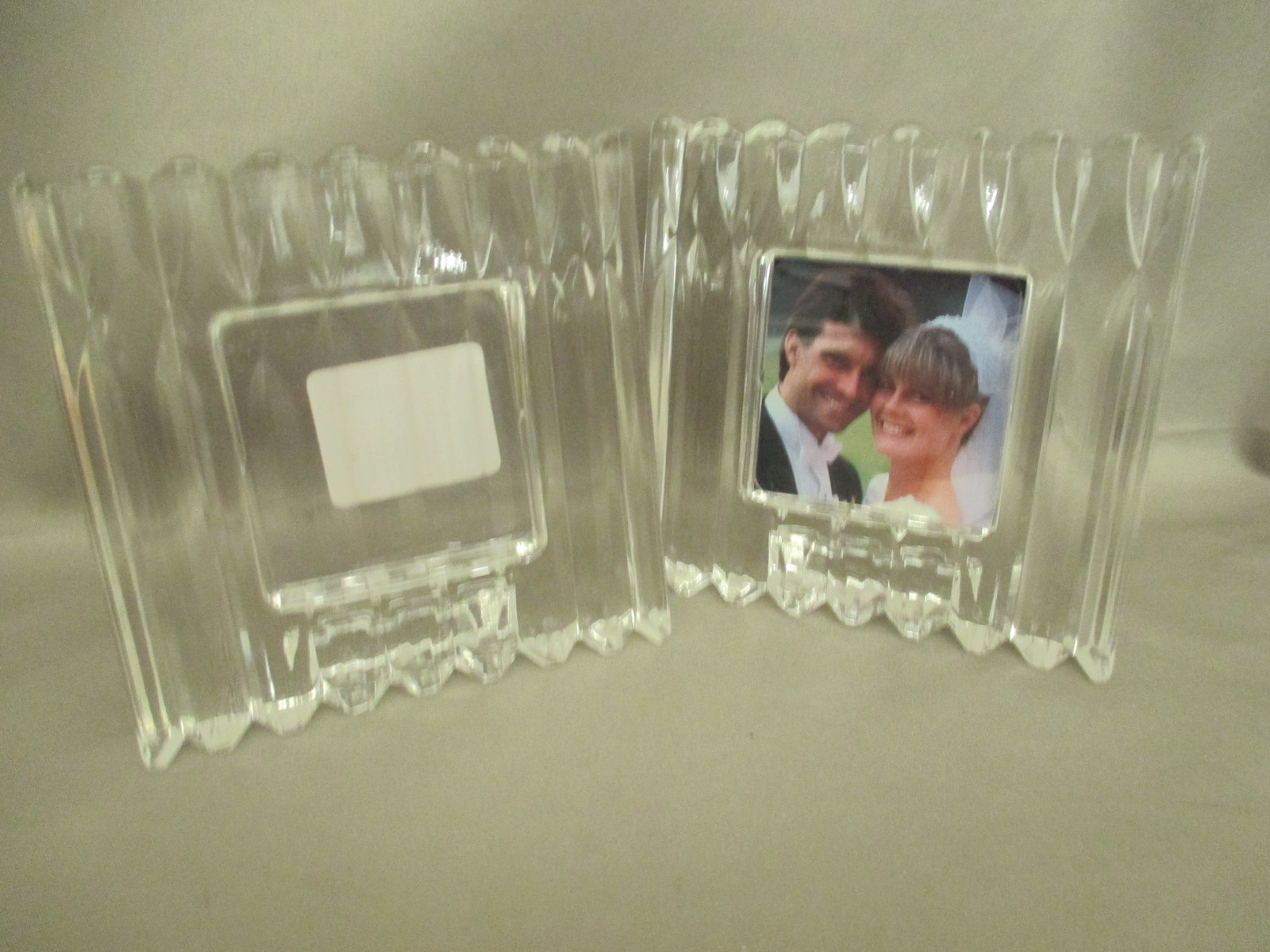 "Two Mikasa 2x2 Photo Frames Free Standing Crystal  ""Glamour"""