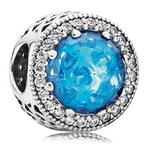925 Sterling Silver Radiant Hearts with Sky-Blue Crystal Charm Bead QJCB767 - $23.88