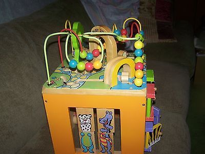 Large Zany Zoo Busy Zoo Wooden Activity Cube Bead Wood toddler toy