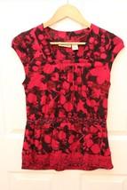 DKNY Jeans Semi Sheer Cap Sleeve Shirt Top Size Medium Animal Print Floral - $14.82