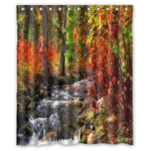 Forest River Autumn Shower Curtain Waterproof Made From Polyester - $29.07+